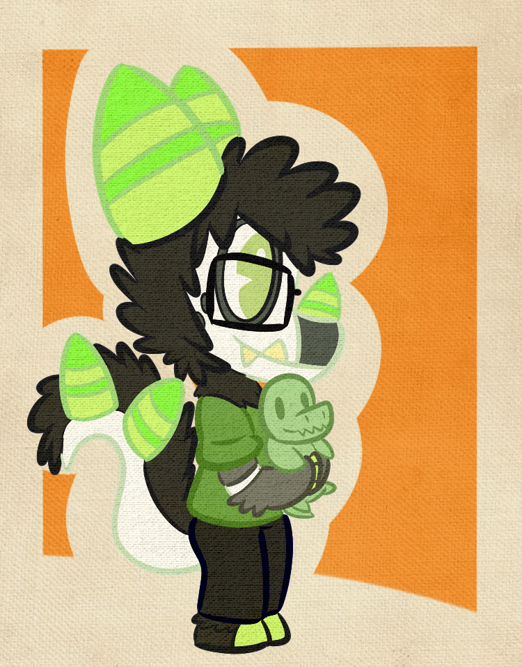 A Squeedge with a tiny dino lizard thing plush!