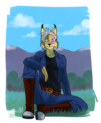 Cyber-Lynx relaxing on the grass