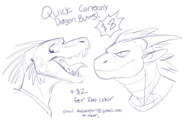 Quick Cartoony Dragon headshots!