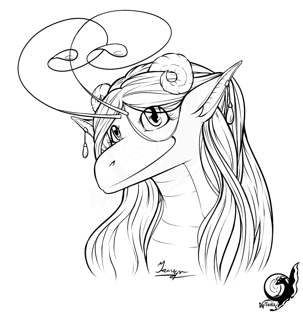 Taala Head Shot Lineart