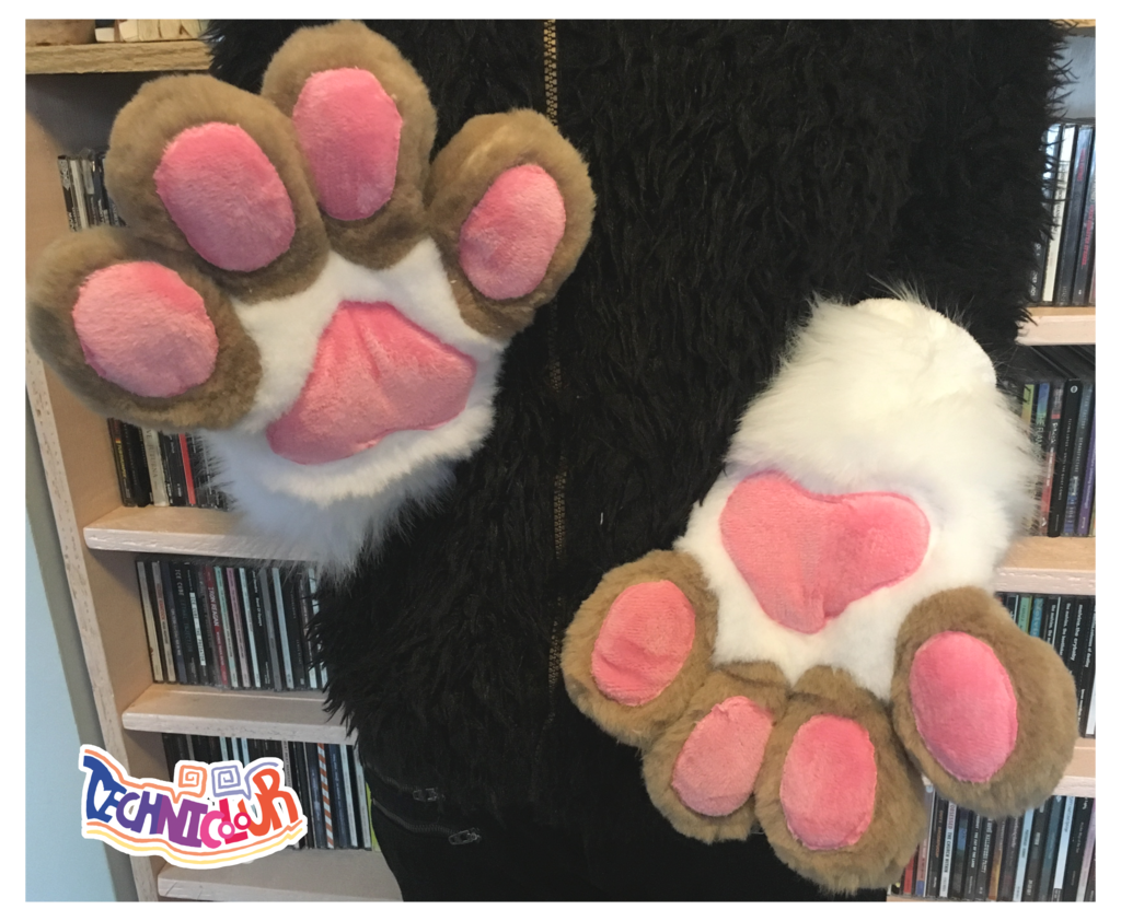 (FOR SALE) White Fursuit Handpaws With Tan Fingers and Pink Pawpads