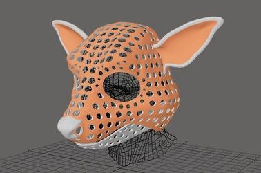 Cartoon deer fursuit head base - free model for 3d-printing