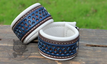 Dark Brown & Blue Filigree Cuffs