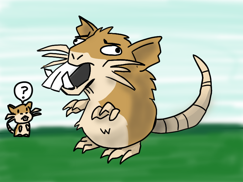 Raticate forgets to keep their fangs short