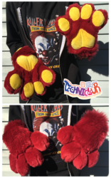(FOR SALE) Maroon Fursuit Handpaws With Yellow Pawpads