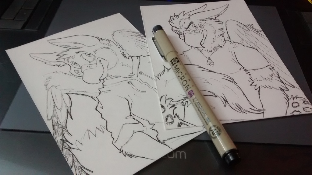 040216 Snowy and Vayro Pen Sketch Commissions