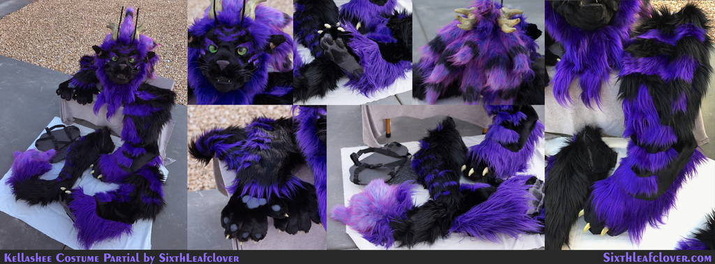 Kellashee partial fursuit with 4D eyes.
