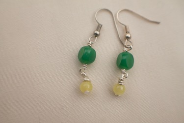 Green and Yellow Stone Earrings