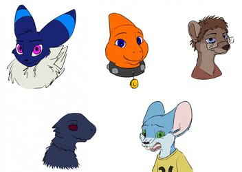 Furry Head Portrait Commission Examples! - by IF & Me