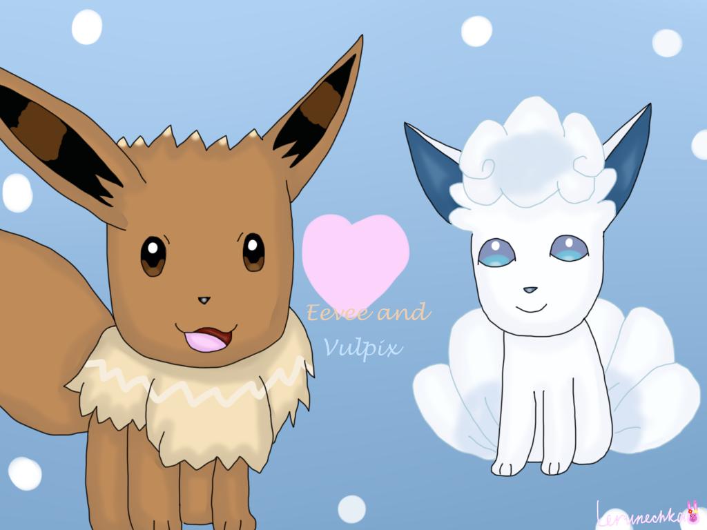 Eevee and Alolan Vulpix