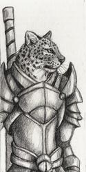 Leopard Warrior Bookmark Sketch - 2011
