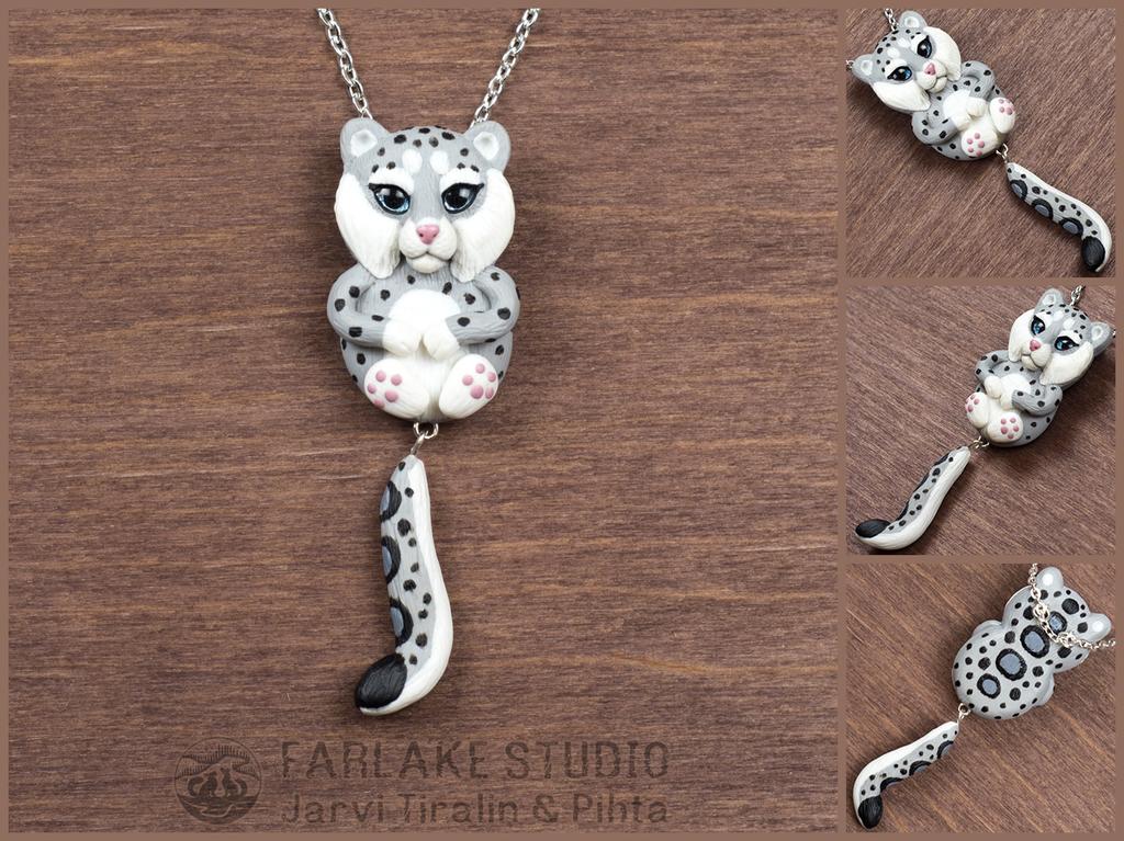Chibi snow leopard full body pendant - for sale