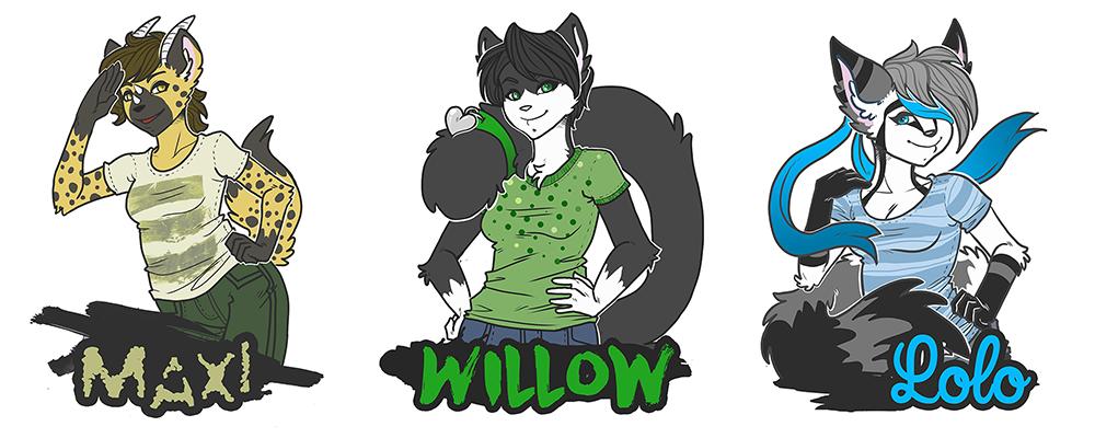 [ badge ] maxi, willow, lolo
