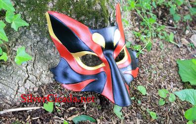 Black and Red Kabuki Kitsune Leather Mask