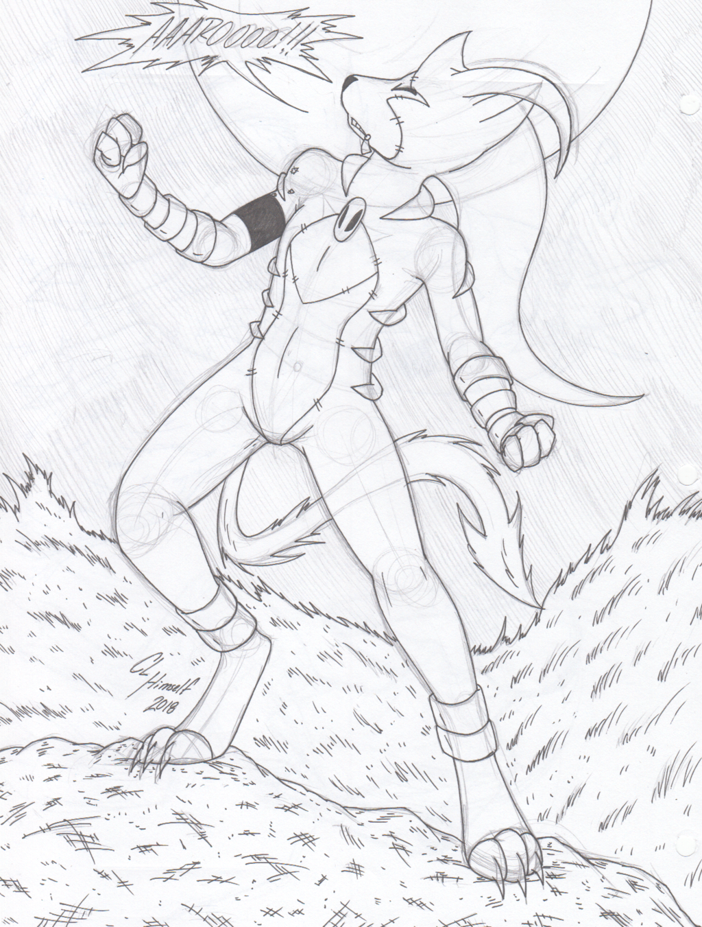 Deceased Blaziken Redux - Howling at the Moon (Inks)