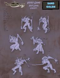 DK Video Game- Sand Golem sketches