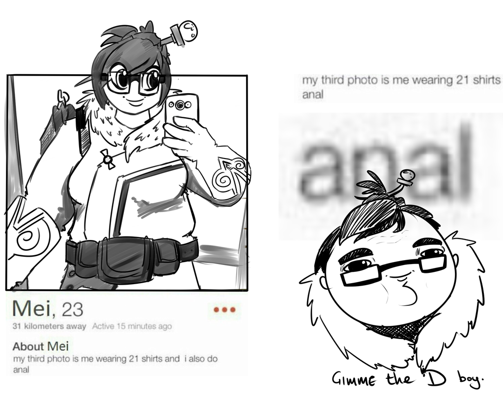 Mei on Tinder. (An actual post I drew over. I'm so sorry. )