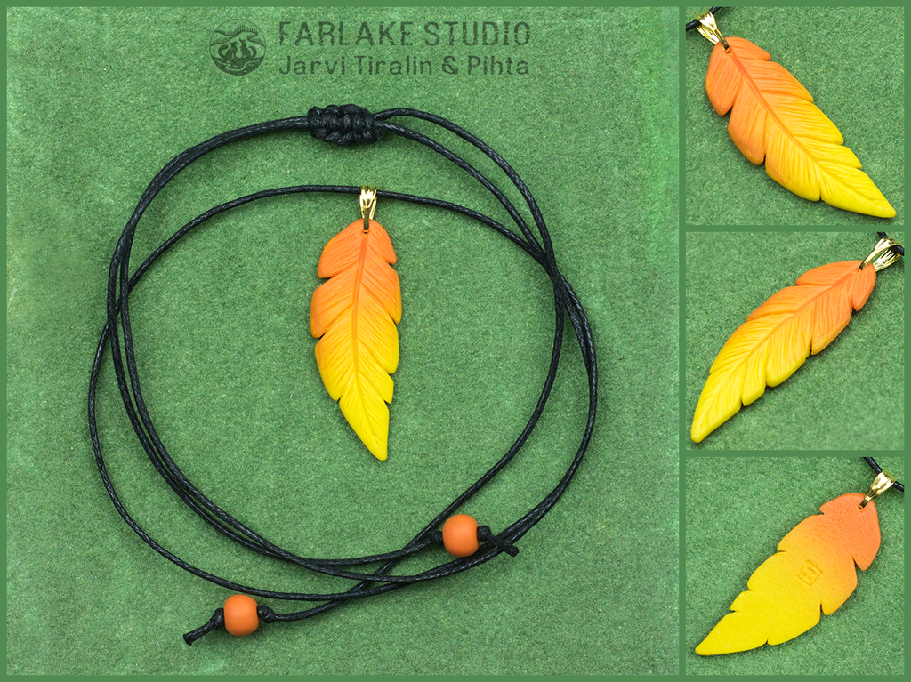 Little phoenix feather pendant
