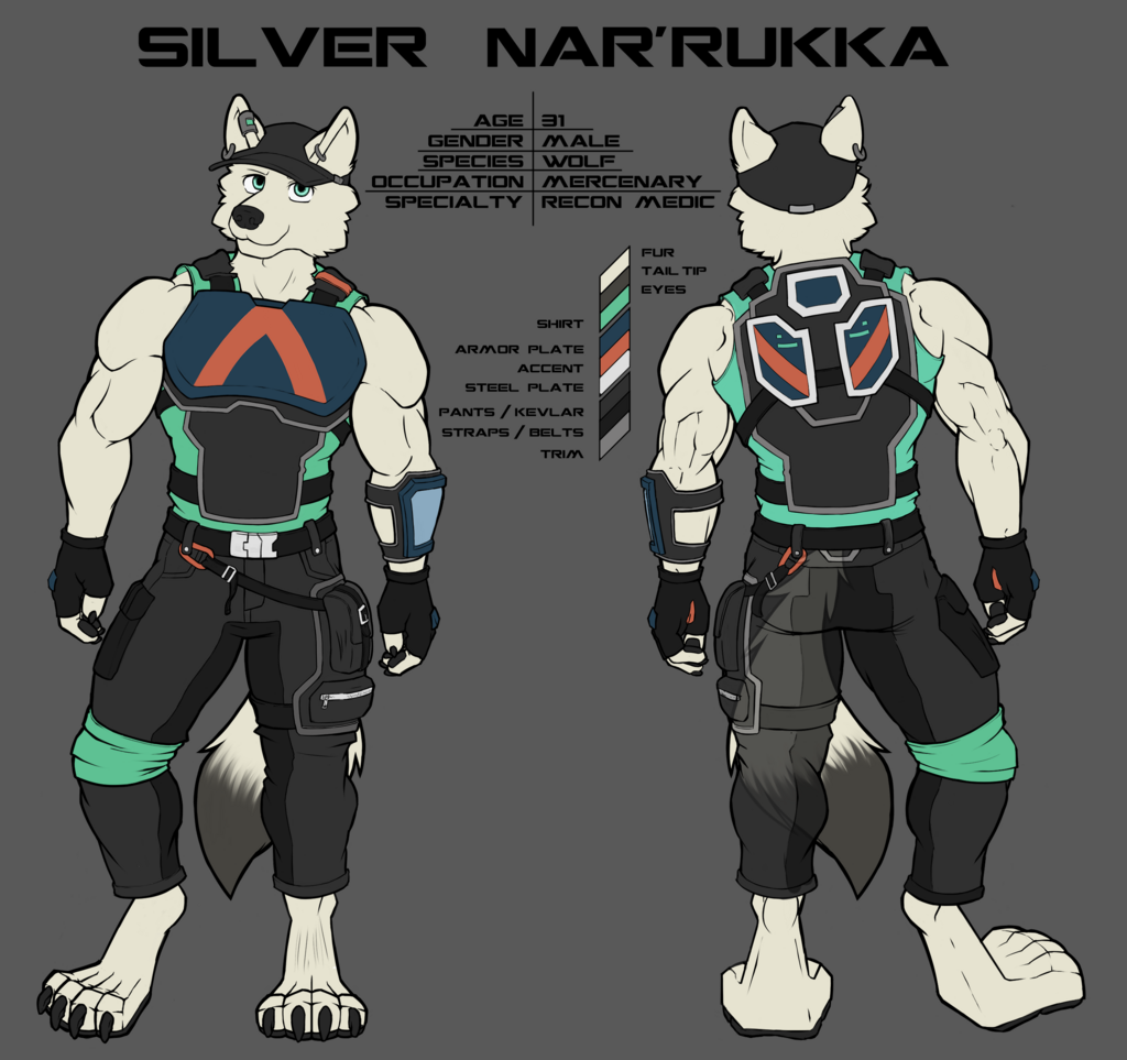 Most recent image: Ref Sheet of Silver Nar'Rukka