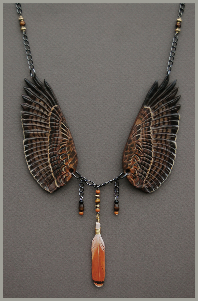 Red Tailed Hawk Wings - Leather Pendant
