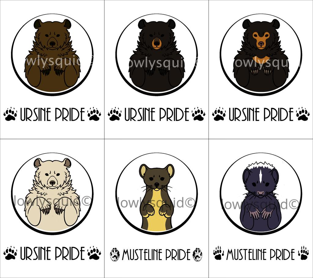 Colored Species Pride Badges: Ursine & Musteline