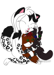 Glitter with her lovely plushie friends <3