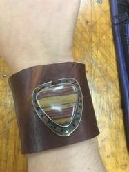 Painted Jasper Brass Cognac Leather Cuff
