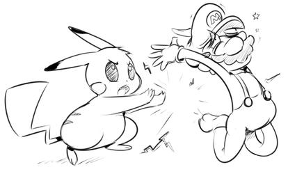 Pikachu Shooting Mario