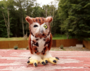 Needle Felted Winking Screech Owl Soft Sculpture