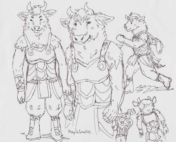 Female minotaur sketch