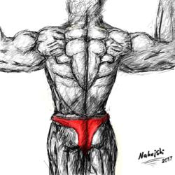 A bodybuilder's huge back