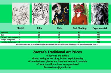 Zaezar's Traditional Price Sheet