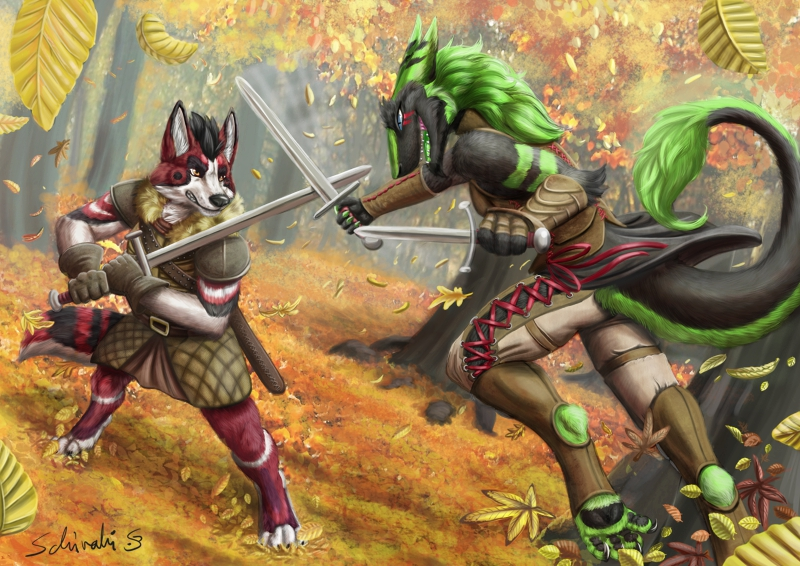 Most recent image: sparring match in the woods