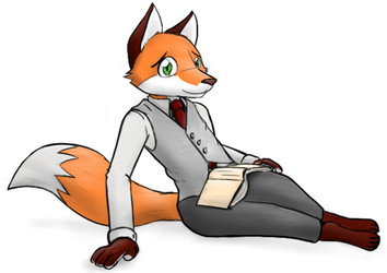Sitting student fox - Final, really