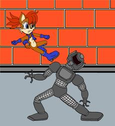 Sally takes out A robot