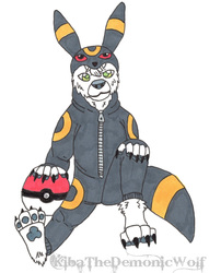 Snowy in an Umbreon Costume