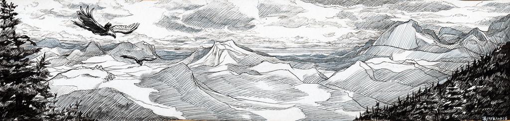 Inktober #3: Cloudshadows over the Minstrel foothills.