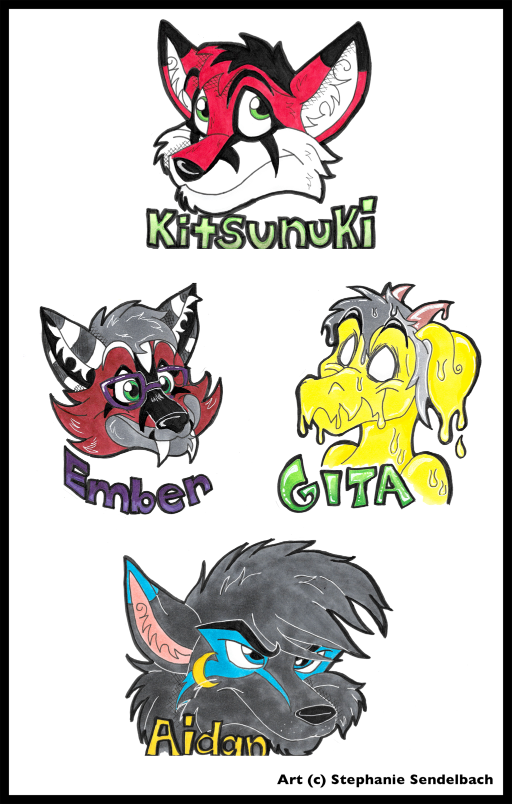 Kitsunuki, Gita, Ember, and Aidan Badges