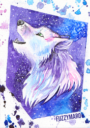 Starry wolf-ACEO/ATC card