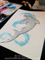 Shark - Watercolor Splatter