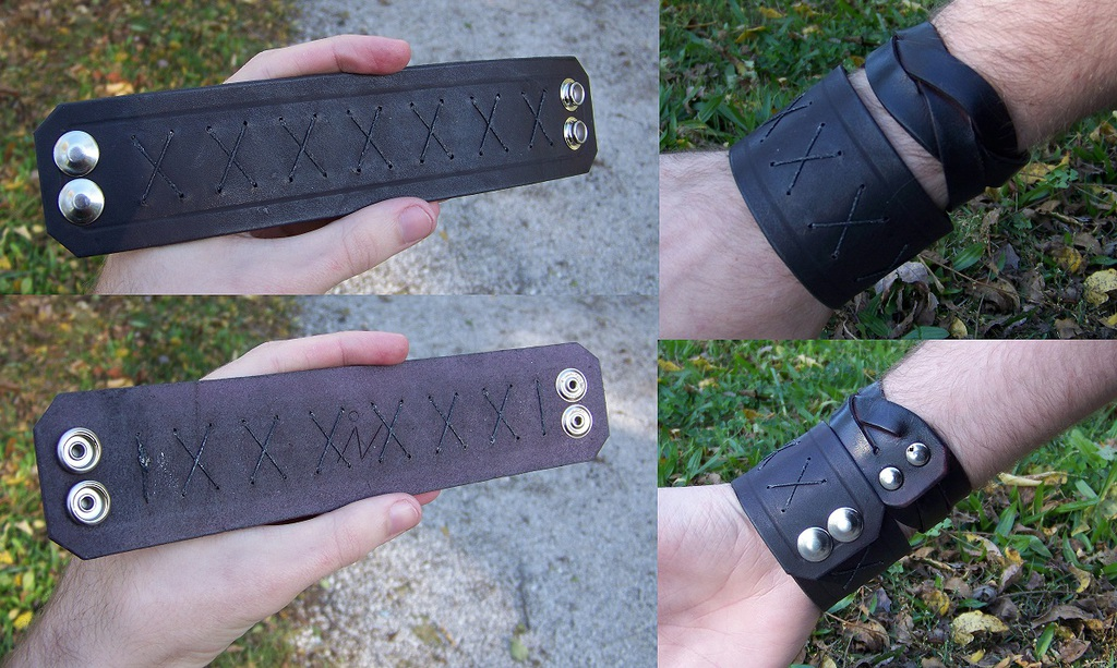 Leather Projects - Stitched Wristband