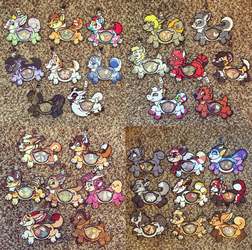 completed clear stuffed animal badges (old style)