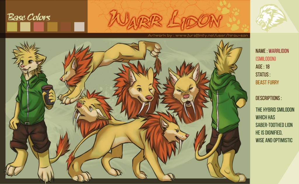 Most recent image: Reff Sheet WARR LIDON main fursona