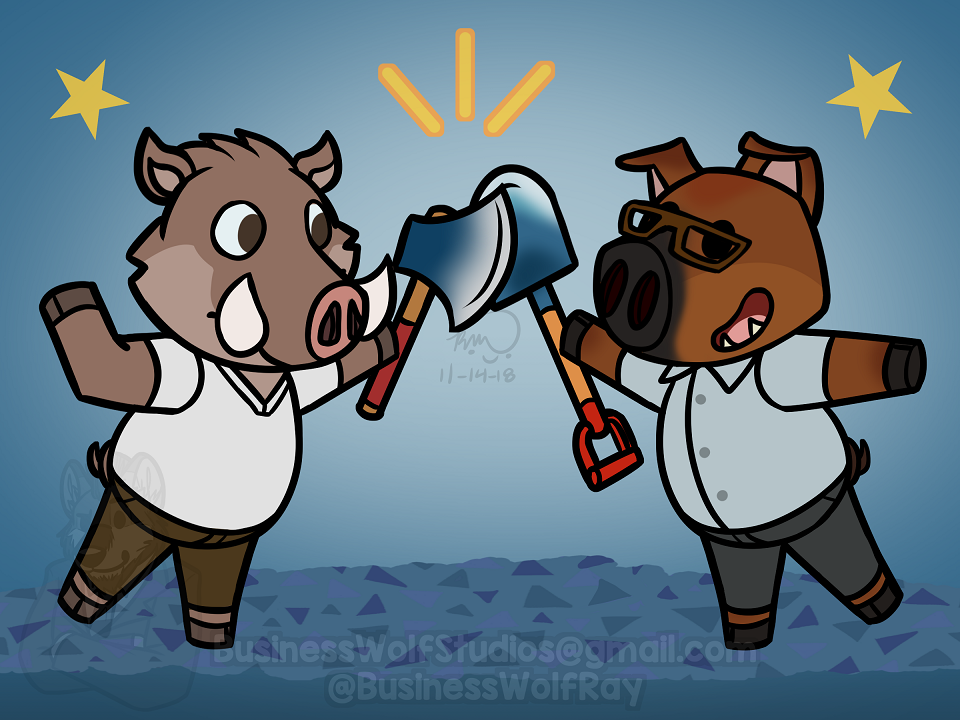 Animal Crossing Duroc and Peabody [Comm]