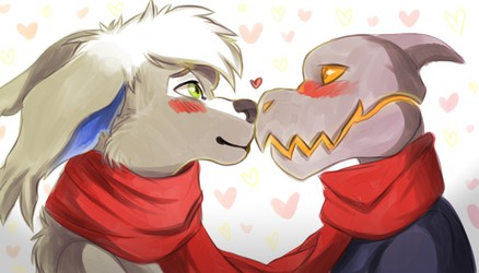 Adorable Smooching Wiith a Side of Blushing! (not by me)