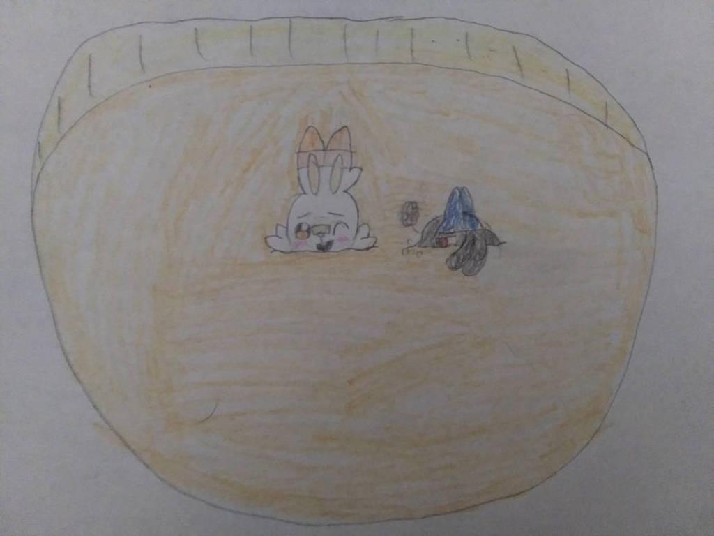 Scorbunny enjoying a sandy sink