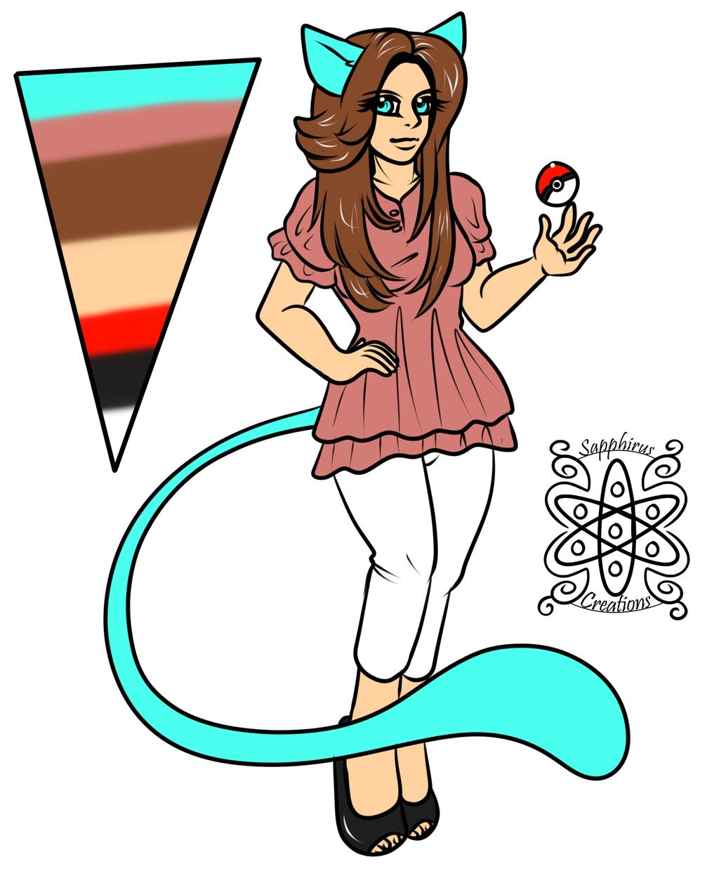 Female Mew Kemono Pokemon Trainer +Flatcolored Commission+
