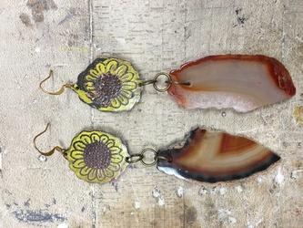 Sunflower Agate Earrings