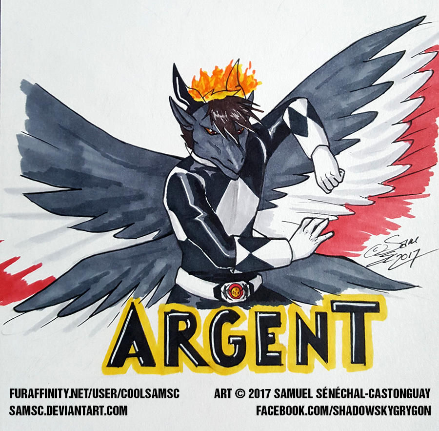 ArgentFang Mighty Morphin Black Ranger Badge