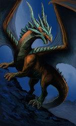 Majestic Dragon Climbing a mountain